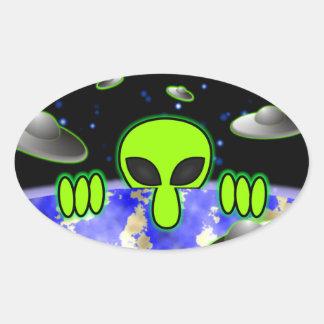 Alien Kilroy Oval Sticker