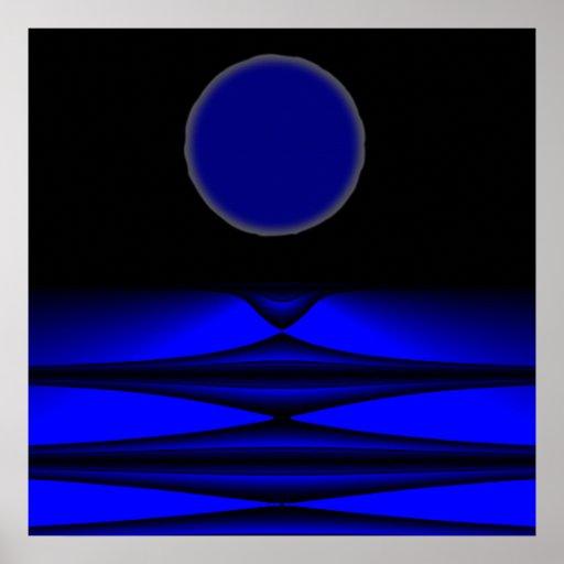 Alien land full moon night poster