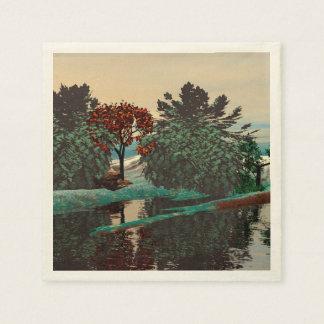 ALIEN LANDSCAPE,TREES,LAGOON HYPERION Sci Fi Paper Napkin