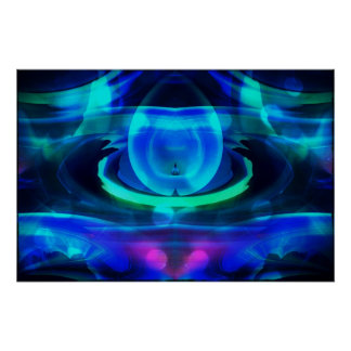 Alien Life? in Blue Abstract Poster