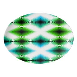 Alien Light Beam Bright Blue Green Teleport Future Porcelain Serving Platter
