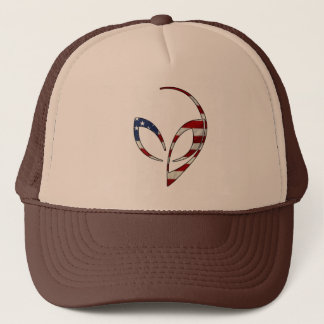 "Alien Mascot in ""American Flag"" Trucker Hat"