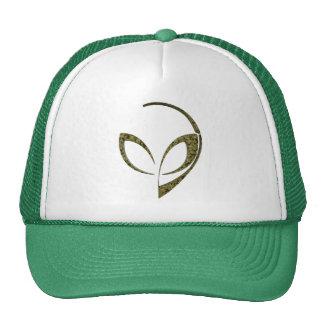 Alien Mascot in Green Digital Camo Trucker Hat