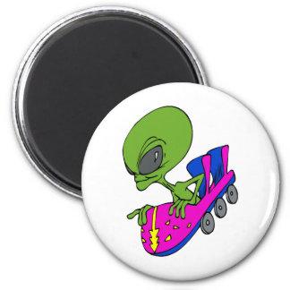 Alien on Coaster 2 Inch Round Magnet