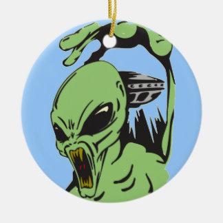 Alien On The Attack Ceramic Ornament