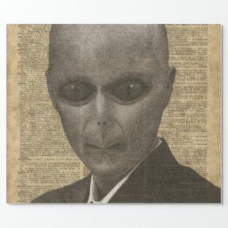 Alien over Dictionary Page Wrapping Paper
