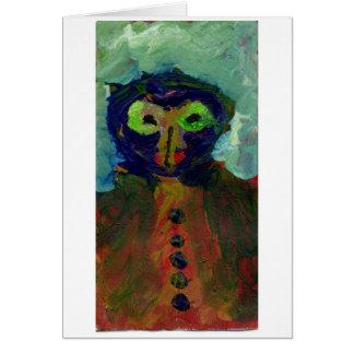 Alien/owl figure note card