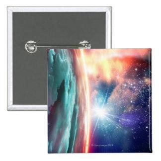 Alien planet, computer artwork. 2 inch square button