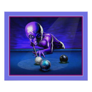 Alien Playing Pool Poster