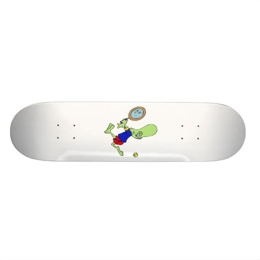 Alien playing tennis skate deck