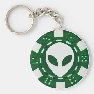 alien poker chip green keychain