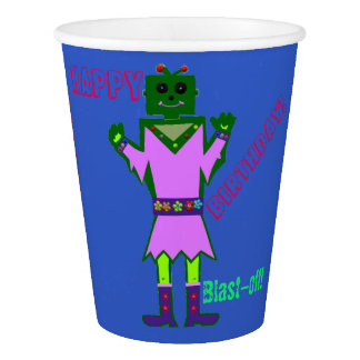Alien Robot Girl Birthday Personalized Cups Paper Cup
