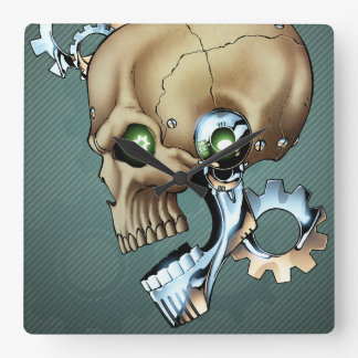 Alien Robot Skull from the Future in Chrome + Bone Square Wall Clock