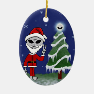 Alien Santa Ceramic Oval Ornament