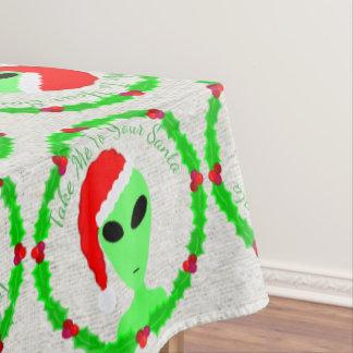 Alien Santa Holly Wreath Funny Christmas Pattern Tablecloth