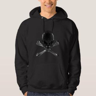 Alien Skull and Crossbones Black Hoodie