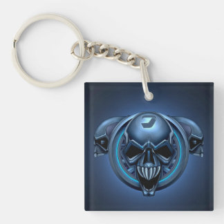 Alien Skulls Double-Sided Square Acrylic Keychain