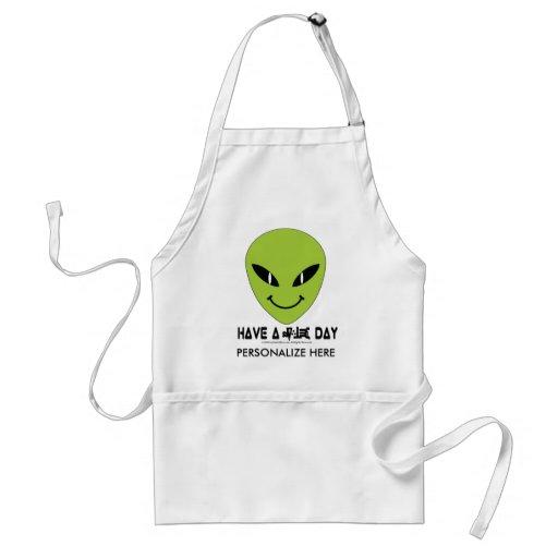 Alien Smiley Face Aprons