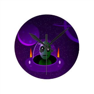 Alien space round clock