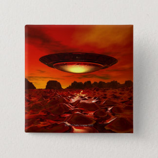 Alien spacecraft over an alien planet, computer 2 inch square button