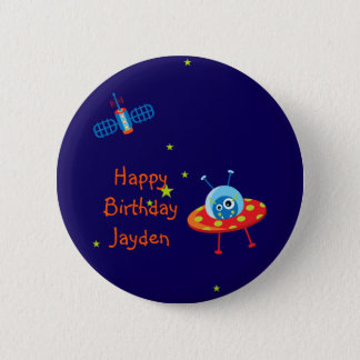 Alien Spaceship Birthday Magnet 2 Inch Round Button