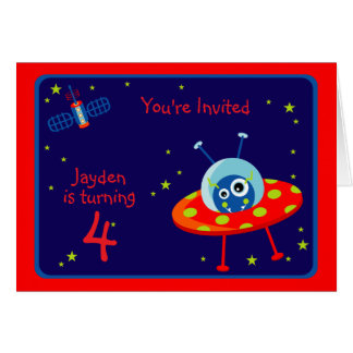Alien Spaceship Birthday Party  Invitation Card