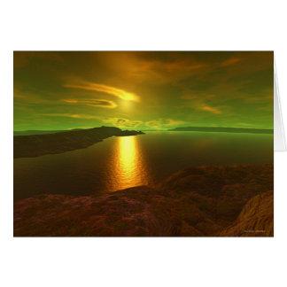 Alien sunset  card