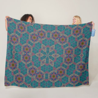 Alien Tribal Spirit Crop Circle Mandala Fleece Blanket