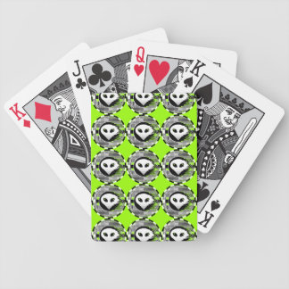 Alien TV Round multi playing cards green