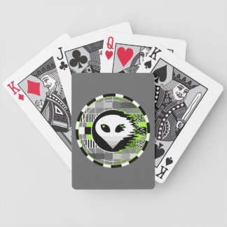 Alien TV Round playing cards grey