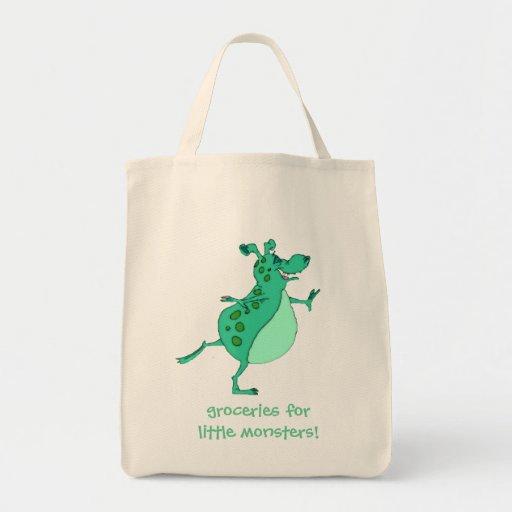 Alien vert sautant mignon sacs fourre-tout