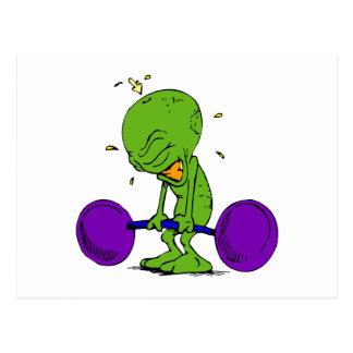 Alien Weight Lifter Postcard