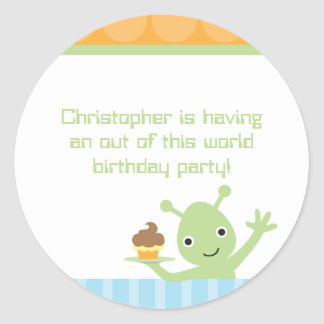 Alien with cupcake boy's birthday party stickers