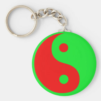 Alien Yin-Yang Basic Round Button Keychain
