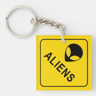 Aliens Double-Sided Square Acrylic Keychain