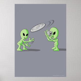 Aliens Frisbee UFO Hoax Poster