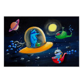 Aliens | Funny Outer Space Nursery Poster