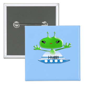 Aliens Huggs Gifts & Promotional Products T-shirts 2 Inch Square Button