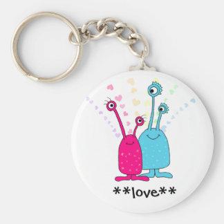Aliens in Love Basic Round Button Keychain
