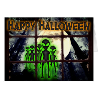 Aliens in the forest Halloween Greeting Card