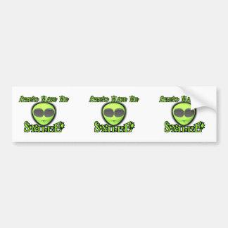 Aliens Make Me Smile Bumper Sticker