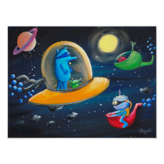 Aliens / Outer space baby-boy nursery decor Poster