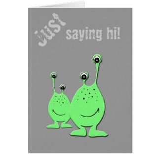 Aliens verts, UFO, petits hommes verts Carte De Vœux
