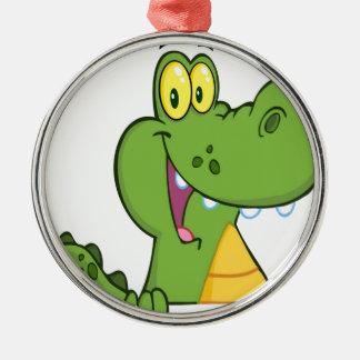 Aligator Or Crocodile Over A Sign Silver-Colored Round Ornament