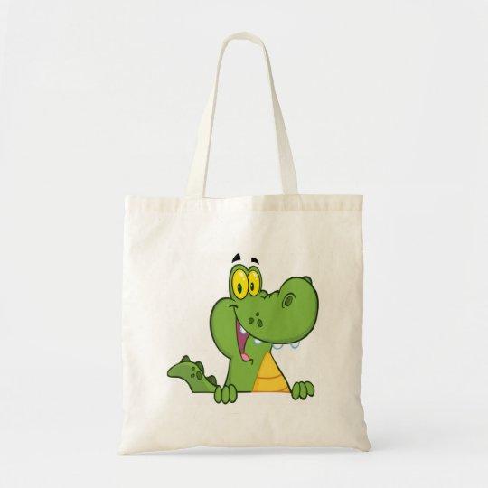 Aligator Or Crocodile Over A Sign Tote Bag