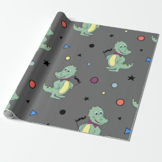 Aligator w/ party props kid birthday wrapping paper