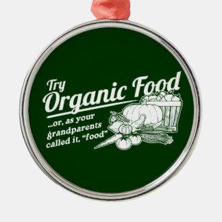 Aliment biologique - vos grands-parents l'ont ornement rond argenté