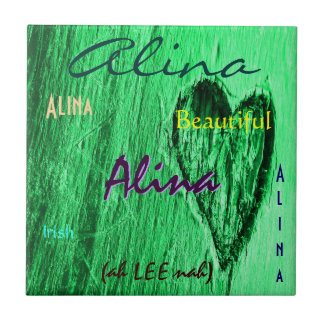 Alina Name and Irish Meaning with Mint Green Heart Tile