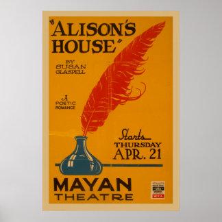 Alison's House Vintage WPA Theatre Poster