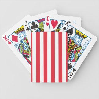 Alizarin Crimson and White Stripes Poker Deck